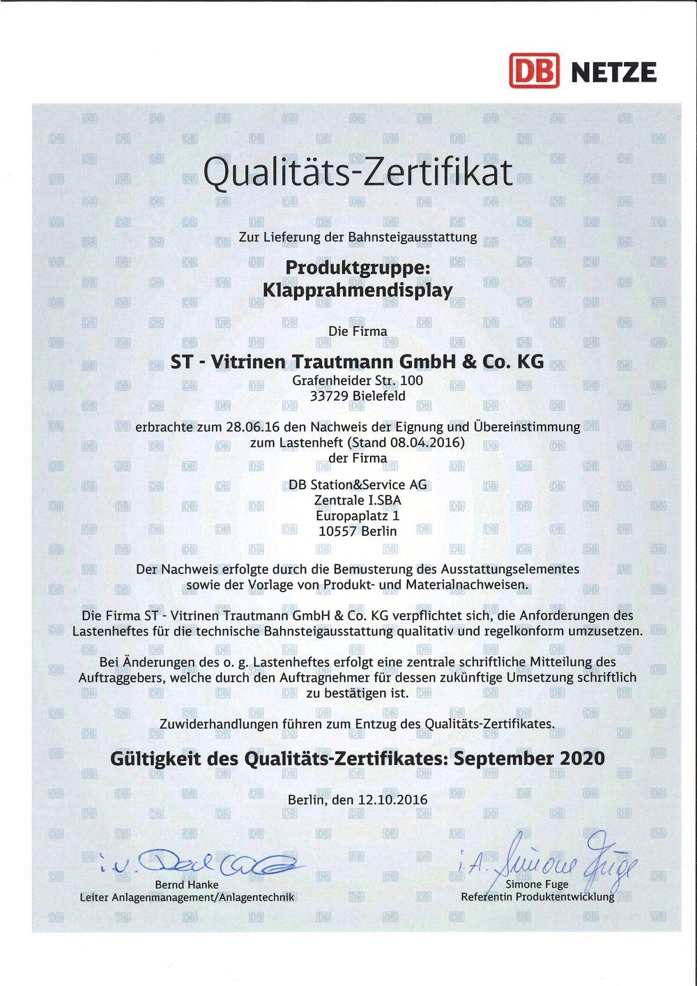 DEUTSCHE BAHN | Qualitätszertifikate - ST-Vitrinen