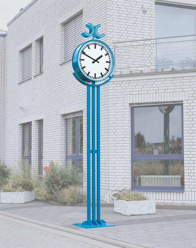 Blau eloxierte Runduhr mit modernem Design (U15.1)