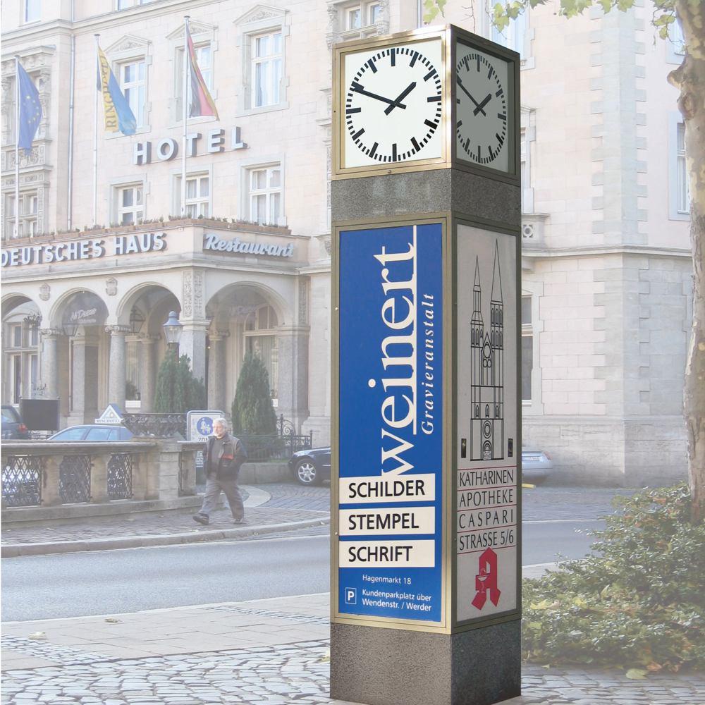 Uhrenwürfel mit Marmor-Applikationen und großer Werbefläche (U5.3)