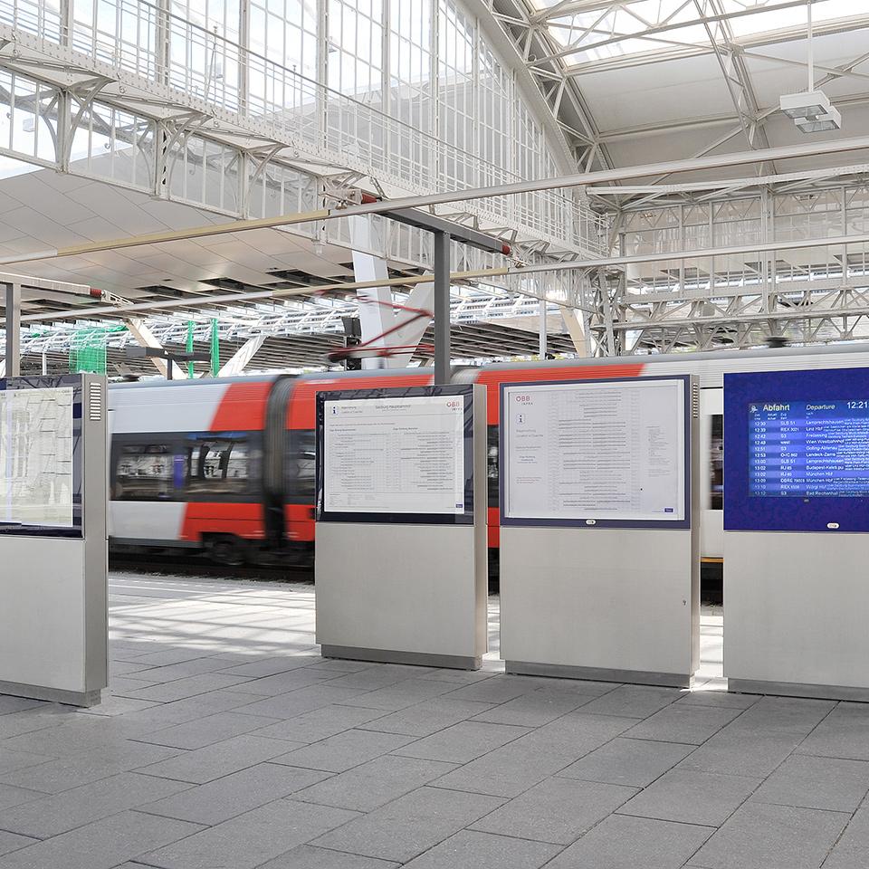 Fahrgastinformationssysteme Hauptbahnhof in Salzburg