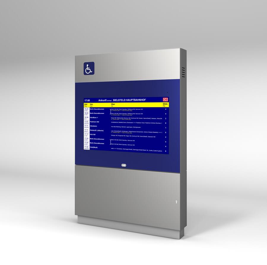 Monitor-Stele barrierefrei mit zweiten Monitor auf der Rückseite