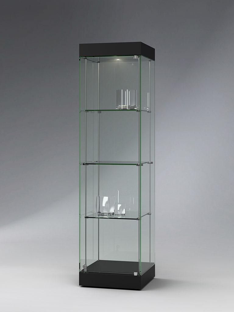 FANUM Säulenvitrine mit Kopf-Element und Beleuchtung