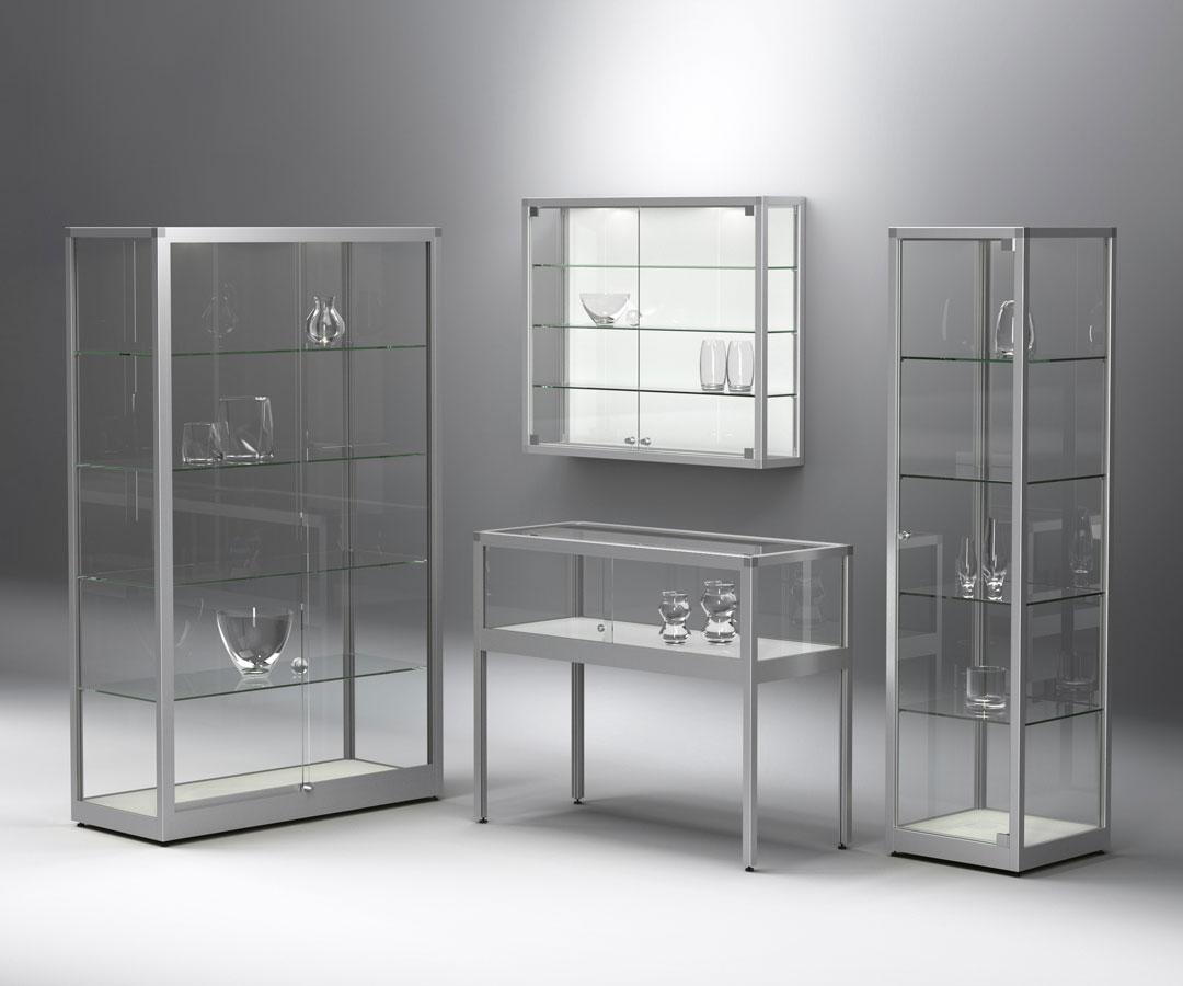 VERTUM Glasvitrinen Serie in Alu-Profiltechik