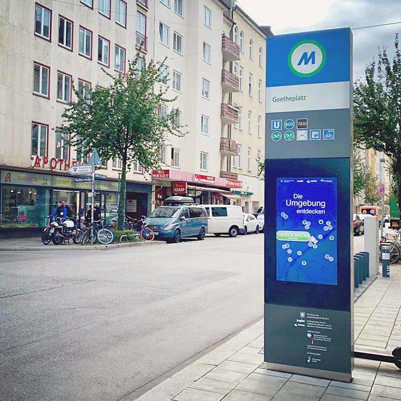 Digitale Bushaltestellen, die E-Mobilitätsstationen in München