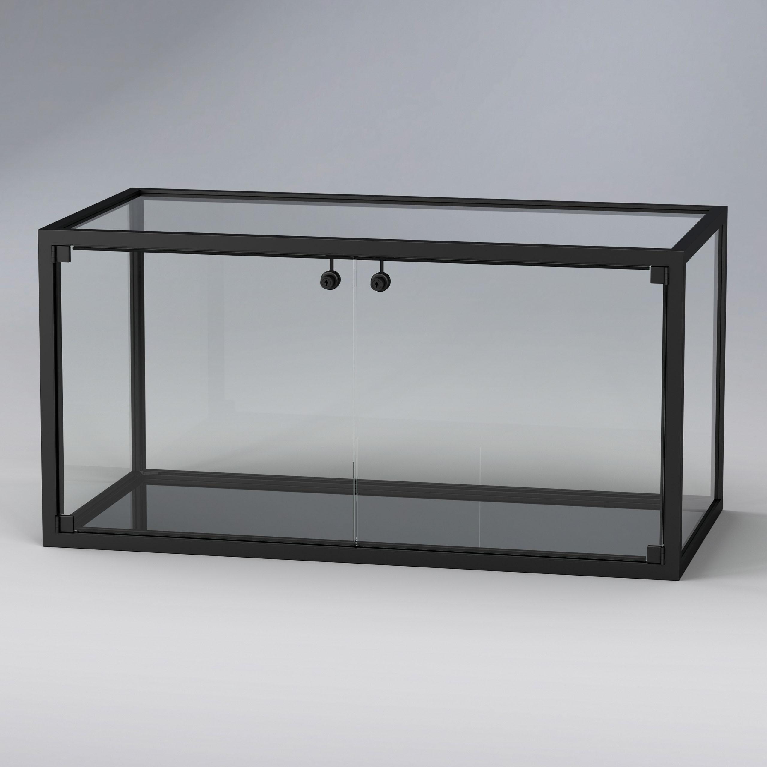 KUBUS BLACK Quader Vitrinenenelement Glas und Aluminium